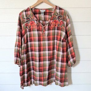 Catherines Emrboidered Plaid Flannel Tunic Top 2X